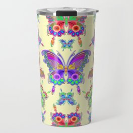 Butterfly Colorful Tattoo Style Pattern Travel Mug