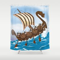 vikings Shower Curtains featuring The Vikings by Nick's Emporium Gallery