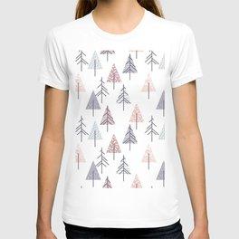 Winter geometrical pink lilac geometric trees T-shirt