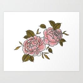 Pink Roses Watercolor Art Print