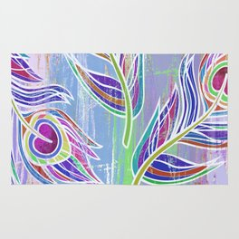 Lilac and blue peacock feathers print Rug