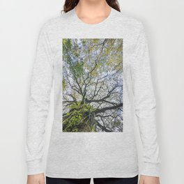 Centenary oak with the trunk covered in moss and green plants Long Sleeve T-shirt