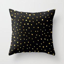 Brushed Gold Dots Throw Pillow