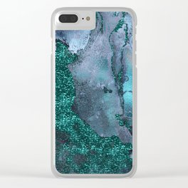 Malachite Glitter Stone and Ink Abstract Gem Glamour Marble Clear iPhone Case