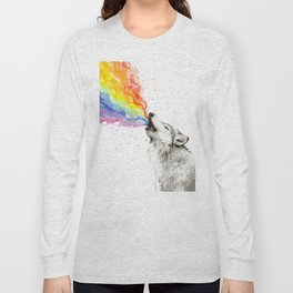 Wolf Howling Rainbow Watercolor Long Sleeve T-shirt