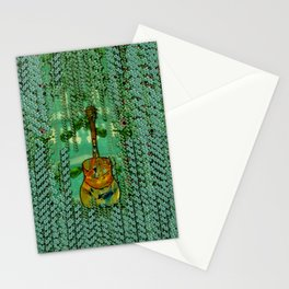 guitar in the most beautiful landscape of fantasy and sakura Stationery Cards
