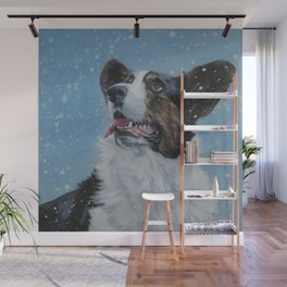 The Cardigan Welsh Corgi dog art portrait from an original painting by L.A.Shepard Wall Mural
