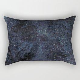 Antique World Star Map Navy Blue Rectangular Pillow
