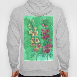 Hollyhock Foxglove Watercolor Honey & Berry on Green Hoody