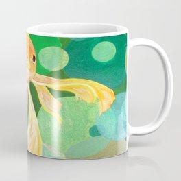 Vermilion Goldfish Swimming In Green Sea of Bubbles Coffee Mug