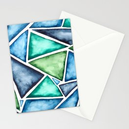 Large scale fragmentation. Watercolor triangles. Stationery Cards