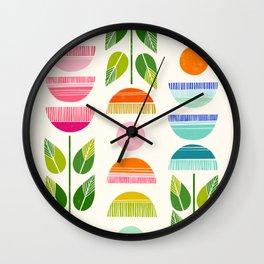 Sugar Blooms - Abstract Retro Inspired Design Wall Clock
