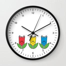 Flowers Of Primary Colors - Fleurs Aux Couleurs Primaires Wall Clock