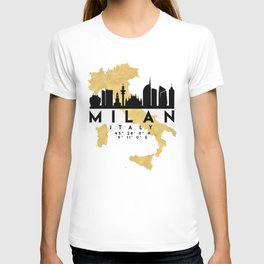 MILAN ITALY SILHOUETTE SKYLINE MAP ART T-shirt