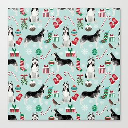 Siberian Husky christmas festive holiday gifts for husky owners by pet friendly Canvas Print