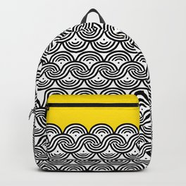 Great Half - black and white block print with sunny yellow accent Backpack