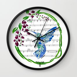 Carrier of Hope (Hummingbird and Wisteria) Wall Clock