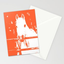White Horse - Coral Red Stationery Cards