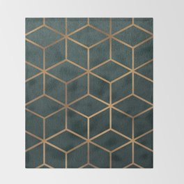 Dark Teal and Gold - Geometric Textured Gradient Cube Design Throw Blanket
