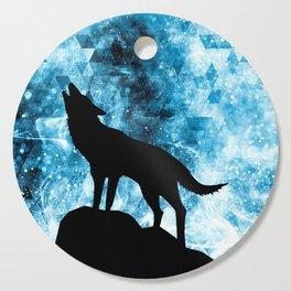 Howling Winter Wolf snowy blue smoke Cutting Board