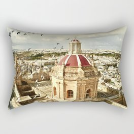An aerial shot of the Parish Church of Saint Catherine, Zejtun Malta Rectangular Pillow
