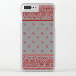 Classic Gray and Red Bandana Clear iPhone Case