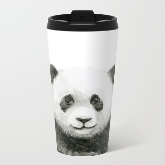 Baby Panda Whimsical Animal Watercolor Cute Baby Animals Metal Travel Mug