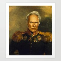 replaceface Art Prints featuring Clint Eastwood - replaceface by replaceface