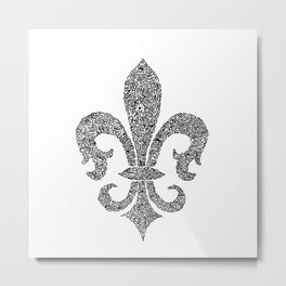 fleur de lis doodle abstract shapes Metal Print