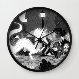 Meeting The Dragon Wall Clock