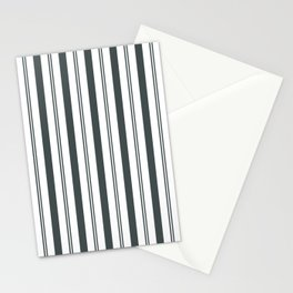 PPG Night Watch Pewter Green & White Wide & Narrow Vertical Lines Stripe Pattern Stationery Cards