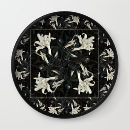 Black and White Lilies Wall Clock