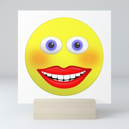 Smiley Female With Big Smiling Mouth Mini Art Print