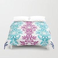 batik Duvet Covers featuring Batik Damask by Rebecca Stoner