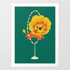 Lion hopped through a loop Art Print