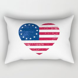Distressed Betsy Ross Flag Heart  , Victory 1776 Rectangular Pillow