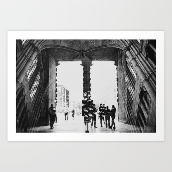 black and white cathedral Art Print