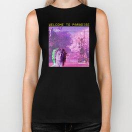 Retro Aesthetic Streetwear Gift Vaporwave Welcome to paradise Biker Tank