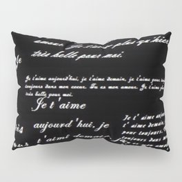 French Poetry Black Pillow Sham
