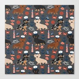 Dachshund nautical sailor dog pet portraits dog costumes dog breed pattern custom gifts Canvas Print
