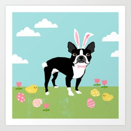 Boston Terrier dog breed easter eggs bunny costume spring dog art portrait Art Print