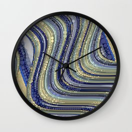 mae - wavy abstract design periwinkle navy blue soft yellow Wall Clock