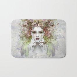 Watercolor face drawing of woman, yoga Bath Mat