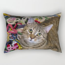 Kitten In Colorful Looms Rectangular Pillow