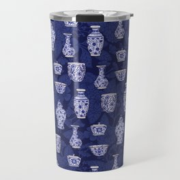 Blue & White Chinoiserie/ Delftware Pottery Pattern Travel Mug