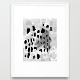 Rexa - abstract minimal modern grey black and white trendy home decor Framed Art Print