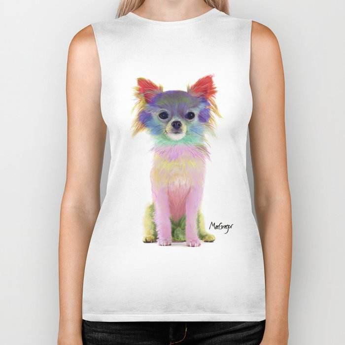 Colorful chihuahua Biker Tank