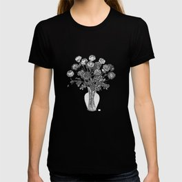 Spring Flowers in Vase on Deep Breath Turquoise Background T-shirt