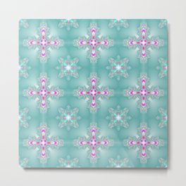 Ice Blue Pink Flower Christmas Pattern Metal Print