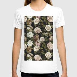 Vintage Botanical Flower Lady Pattern T-shirt